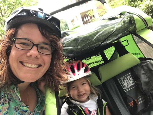 Zoe and Mommy on a bike ride